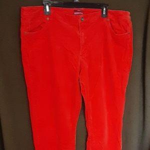 Marona women's orange stretch corduroy pants